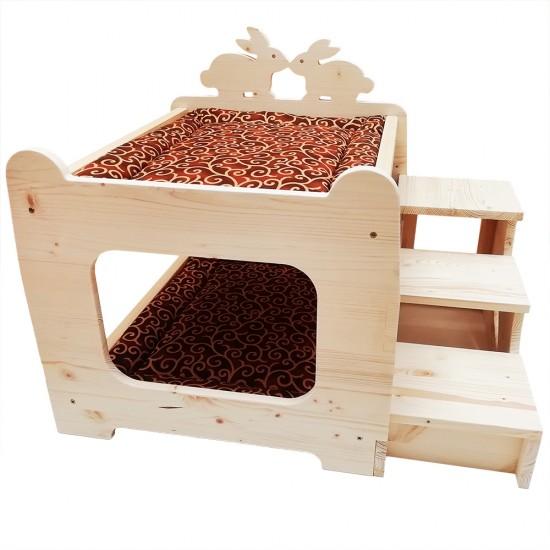 Letto a Castello per Conigli king size XL di pregio con cuscini e scalaRosicchiando semplicemente unico !!