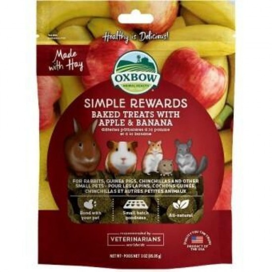 Oxbow Simple Rewards - Baked Treats with Apple & Banana  - 85 gr alimento complementare conigli e roditori